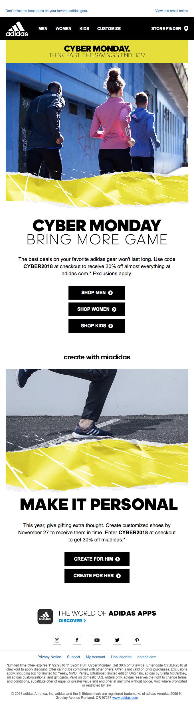 """Adidas utilizó su marca de correr para enfatizar el Cyber Monday. """"Class ="""" wp-image-15558 """"width ="""" 340 """"height ="""" 1244"""