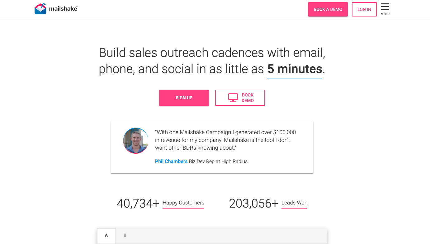 Mailshake sales tool for smb.