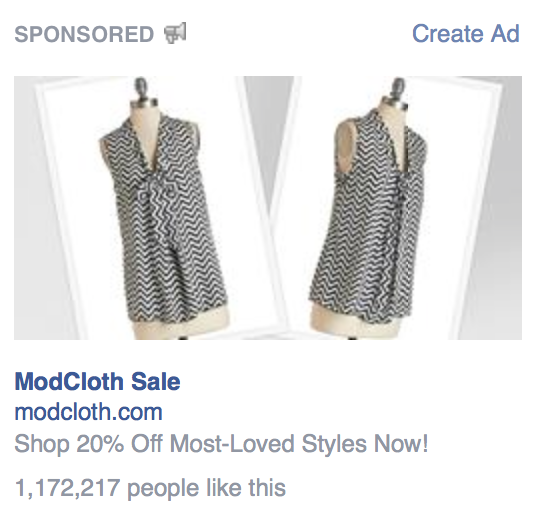 Example of a Facebook retargeting ad.