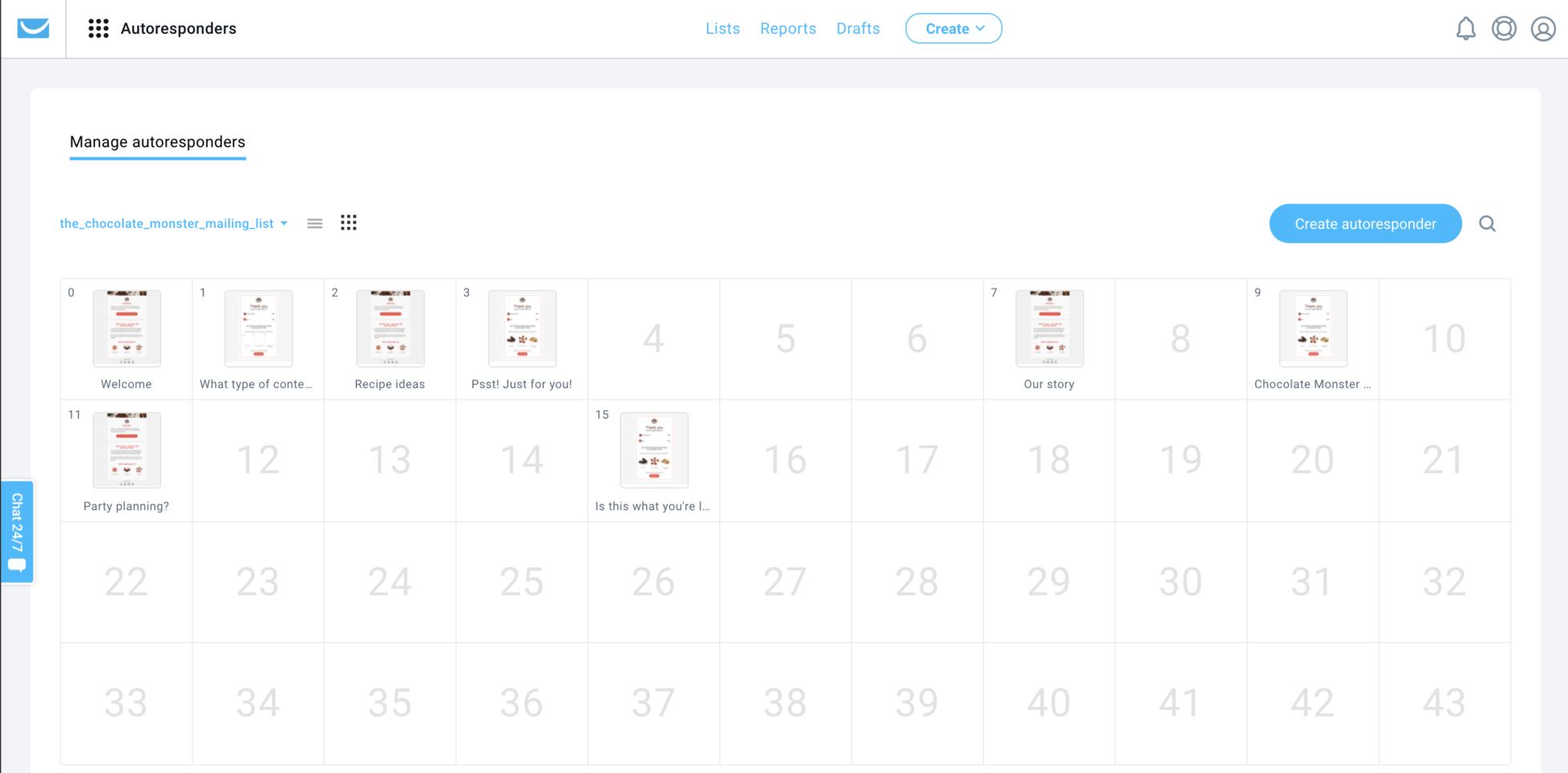 Календарь автореспондеров в платформе ГетРеспонс