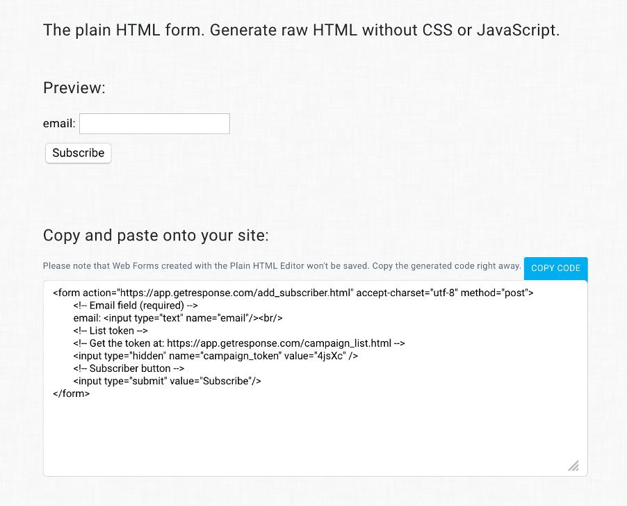 html код формы регистрации в платформе ГетРеспонс
