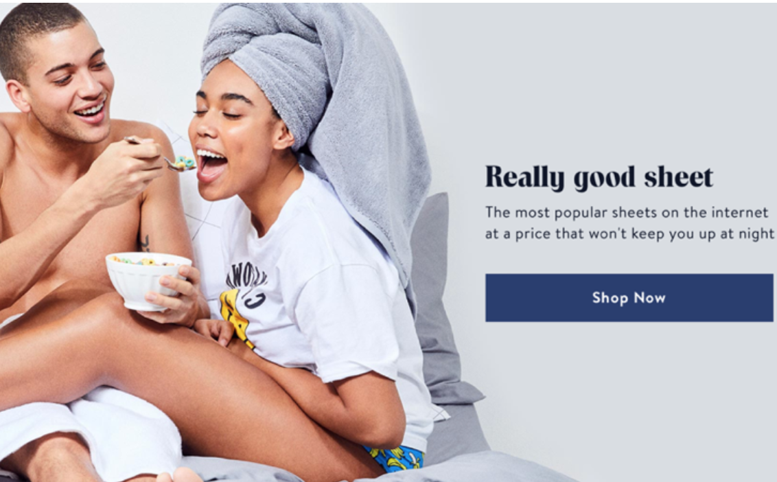 Brooklinen's homepage copywriting example.