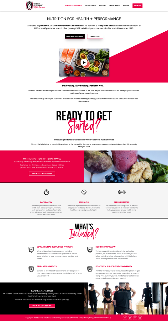 A landing page introducing the School of Calisthenics Virtual Classroom Nutrition course.