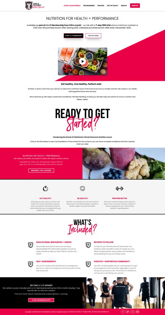 Una página de inicio que presenta el curso de Nutrición en el aula virtual de la Escuela de Calistenia.