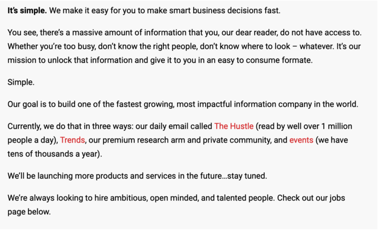 Screenshot of The Hustle's copy in the 'About' page.