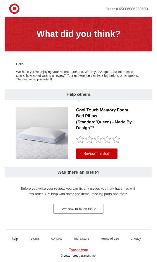 An email from Target asking for a product review.