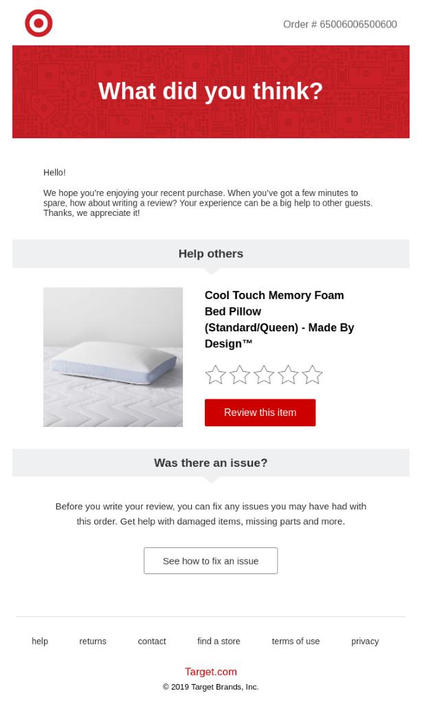 Un correo electrónico de Target solicitando una revisión del producto.
