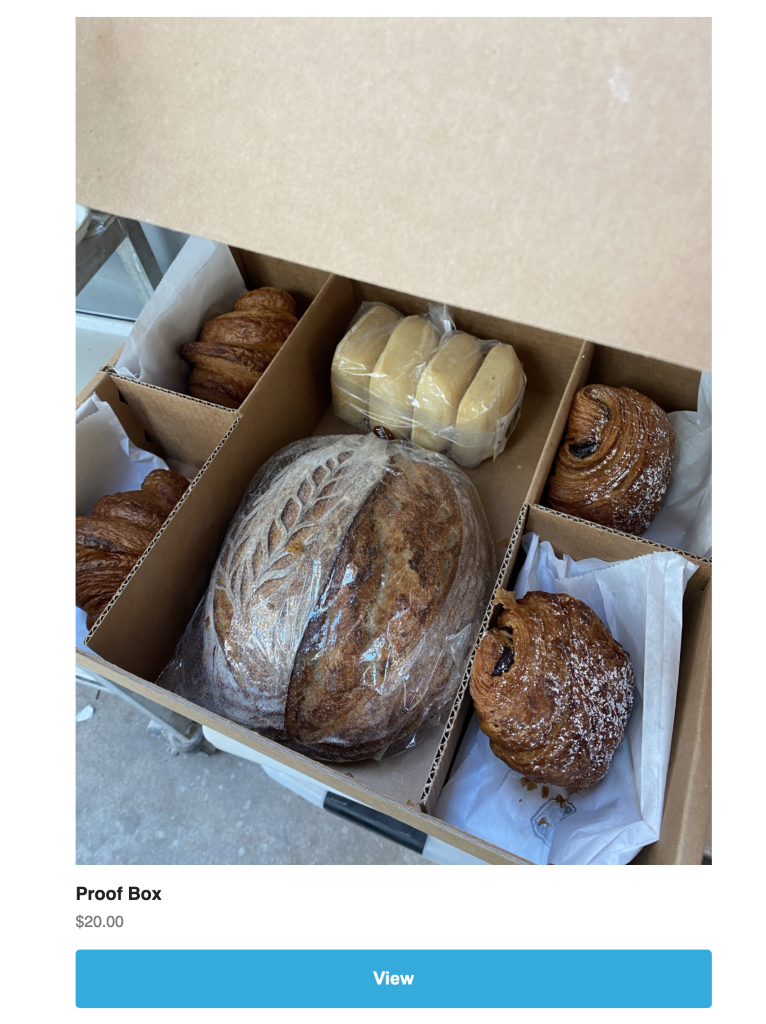 Un fragmento de un boletín de Proof Bread que promociona una caja de productos (venta cruzada).