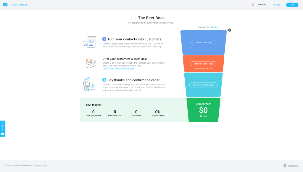 A quick sales funnel template.
