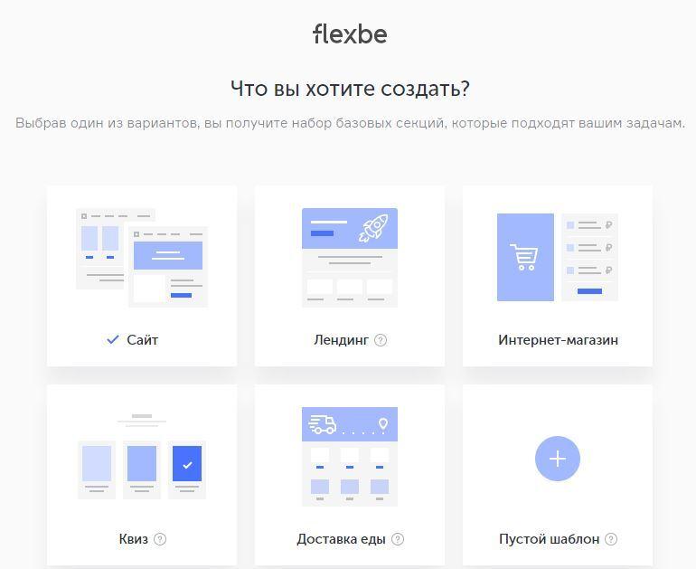 выбор типа сайта при регистрации в конструкторе лендингов Flexbe