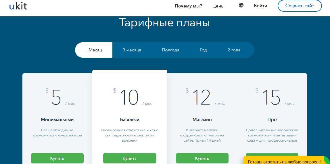 список тарифных планов конструктора лендингов uKit
