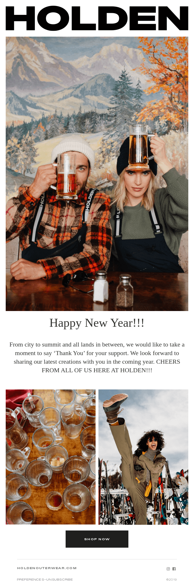 Example of a New Year's email from Holden.