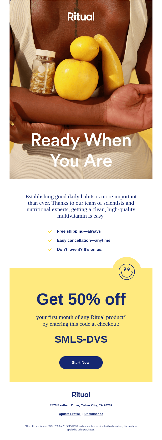 Example of a New Year's email from Ritual.