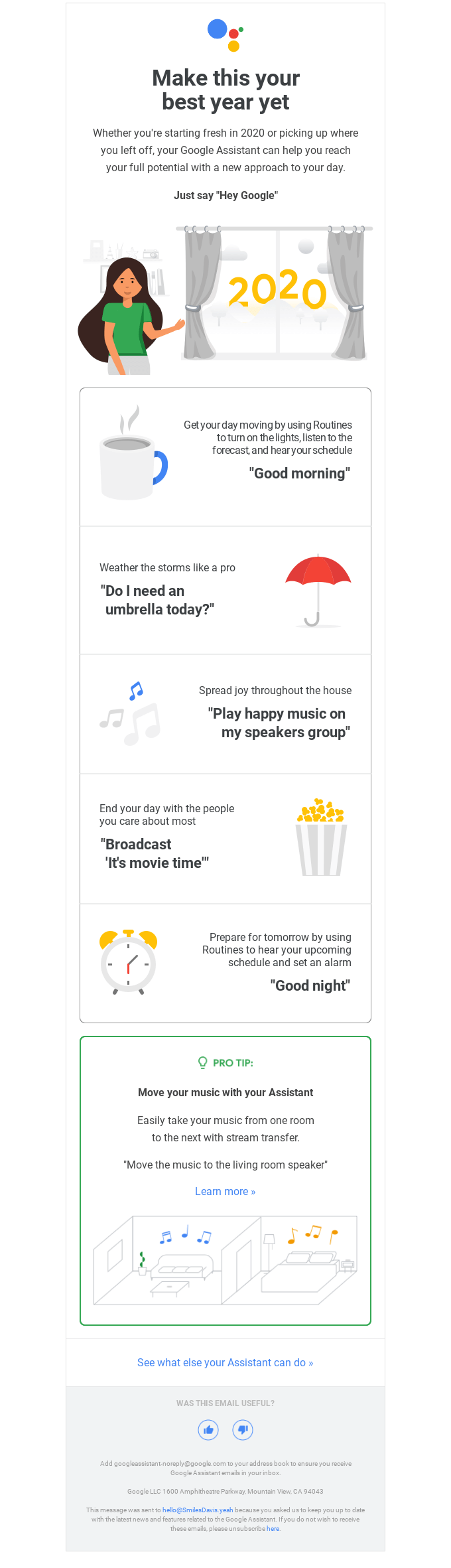 A New Year's email from Google.