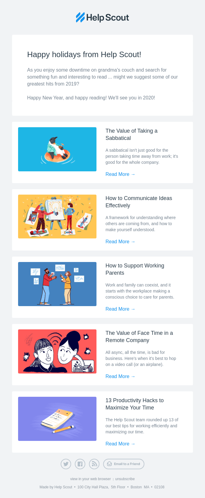 HelpScout's New Year's email example.