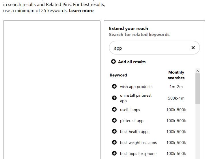 поиск ключевиков для рекламы при создании рекламной платной кампании в Пинтерест