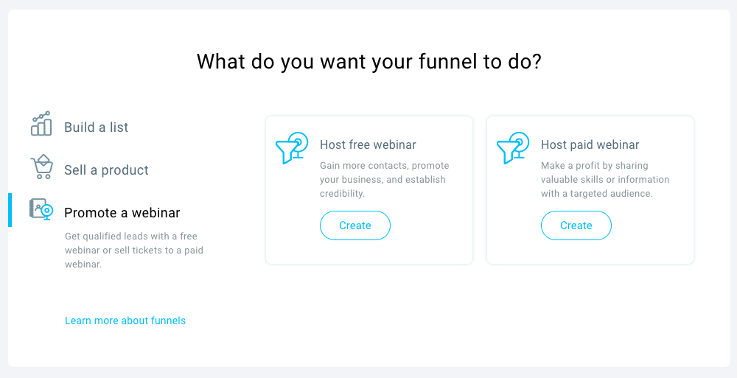 Promoting free and paid webinars with GetResponse Conversion Funnel.