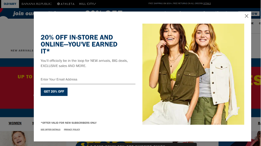 Ecommerce pop up form example offering a 20 discount both offline and in-store.