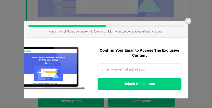 Signup form offering an access to exclusive content and using a progress bar to increase the sense of urgency.