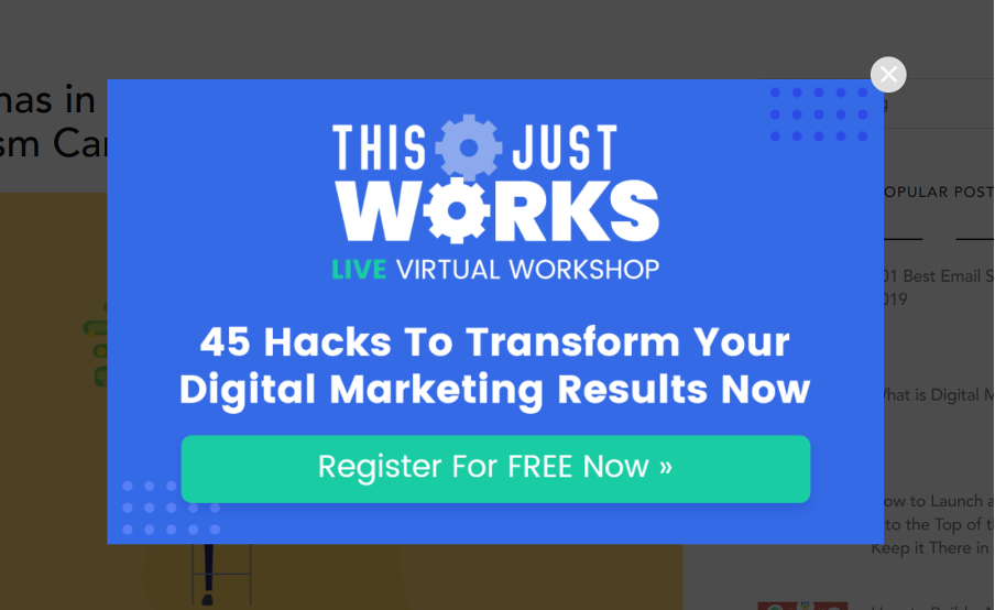 Website popup from Digital Marketer offering access to a free live virtual workshop.