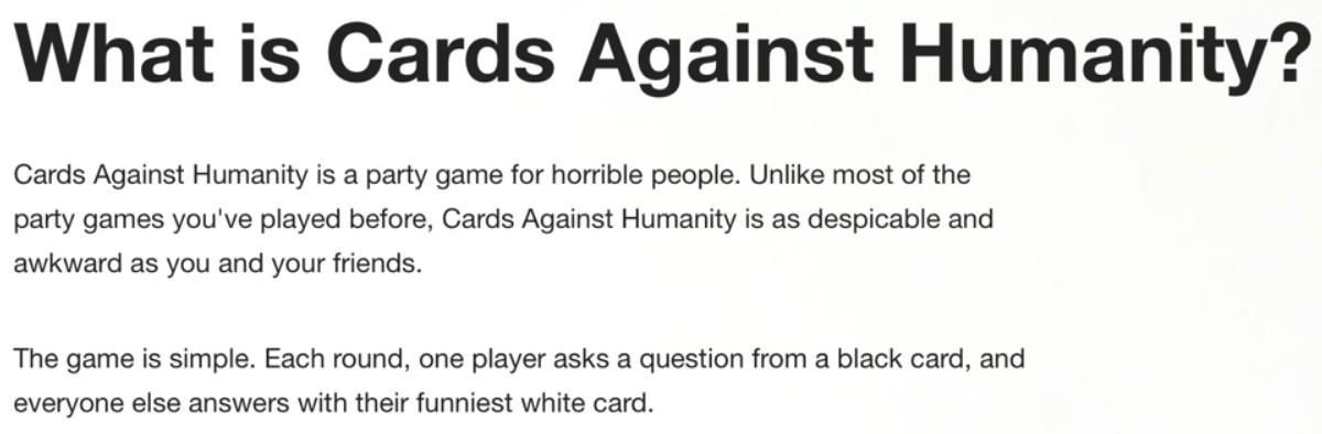 описание карточной игры от Cards Against Humanity