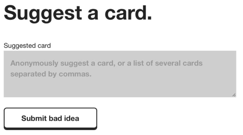 кнопка призыва к действию в рекламном тексте Cards Against Humanity