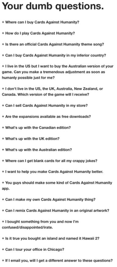 список популярных вопросов и ответов в игре Cards Against Humanity