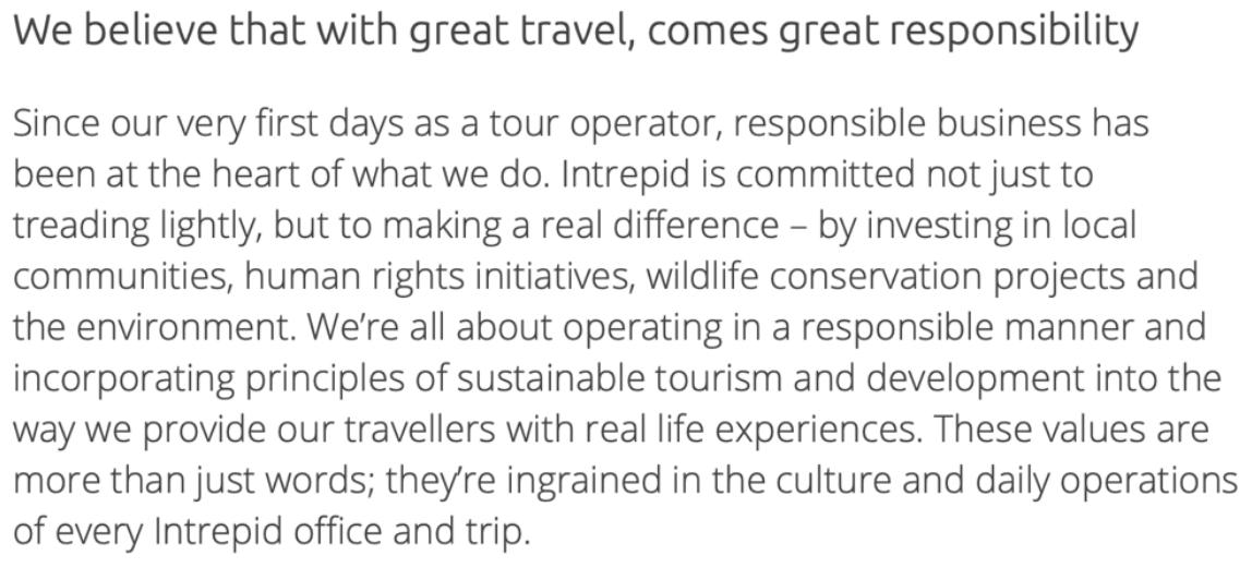 обещание компании Intrepid Travel и ее цели в форме простого текста как отличный пример профессионального копирайтинга