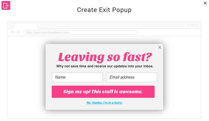 Example of an exit-intent popup form created with GetResponse Webform Builder