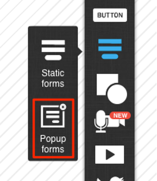 Select popup forms in the Landing Page Creator.
