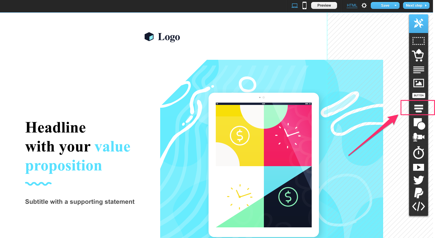 Find the form icon on the right side of the Landing Page Creator.