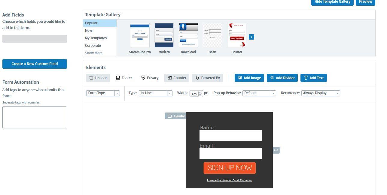 конструктор форм регистрации и галерея шаблонов в Aweber