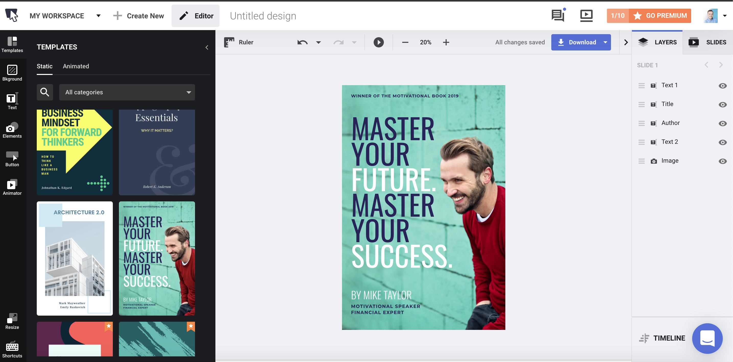Ebook cover templates free and paid in Bannersnack creator.