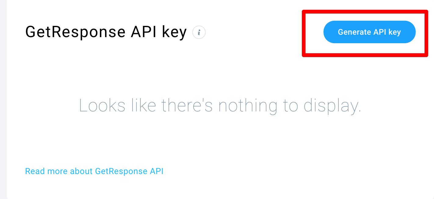 Расположение кнопки ключа API