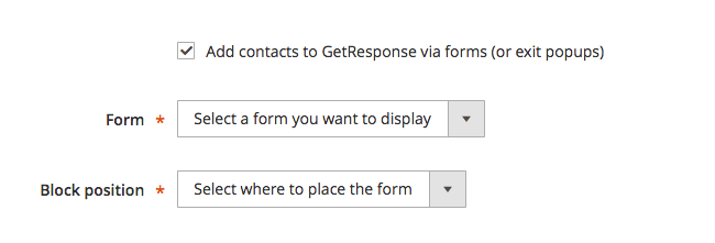 option to add contacts via forms selected to show settings