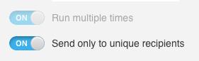Включенный параметр отправки только уникальным получателям