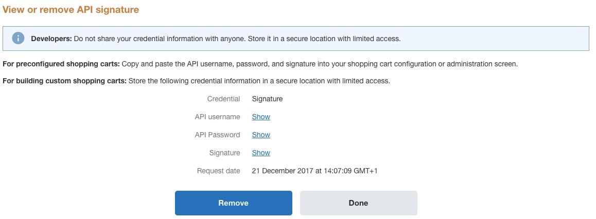опции пароля и API доступны