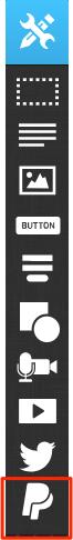 Расположение кнопки PayPal показанное в редакторе лендингов