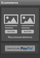 Ecommerce tab in message editor showing PayPal button