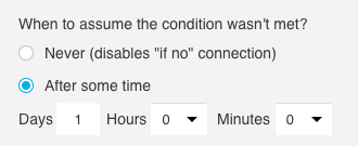 Time settings configured to wait one hour.