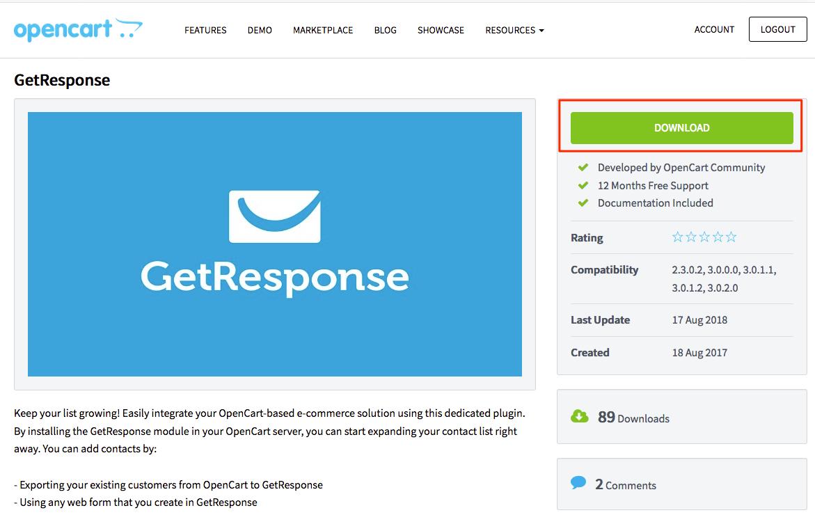 Wtyczka GetResponse na stronie OpenCart Marketplace