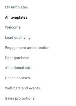 Template categories listed in the menu