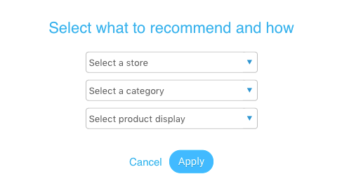 Modal with setup options for Recommendations block