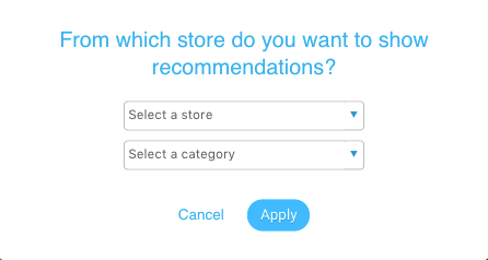 Store and category menus in modal