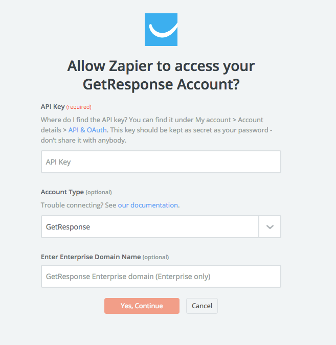 modal displays fields required for connecting Zapier and GetResponse