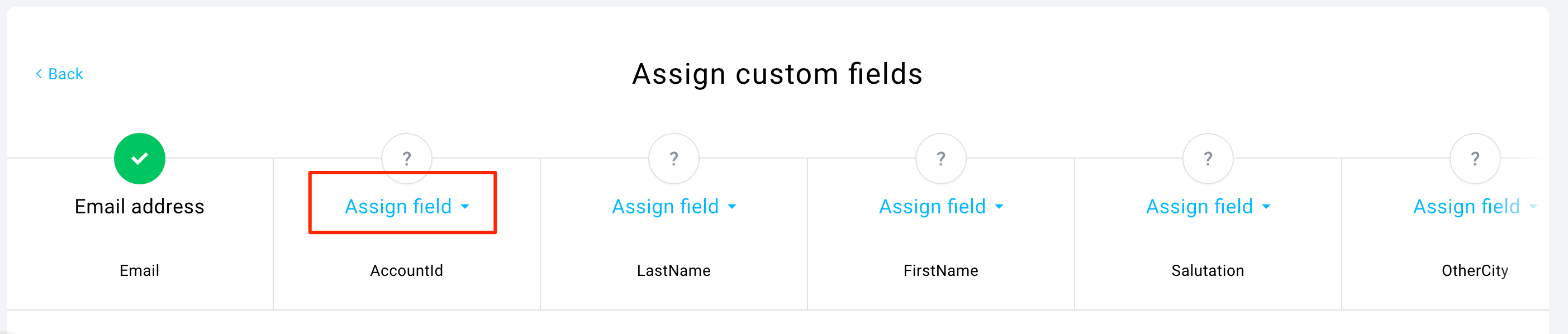Mapping custom fields