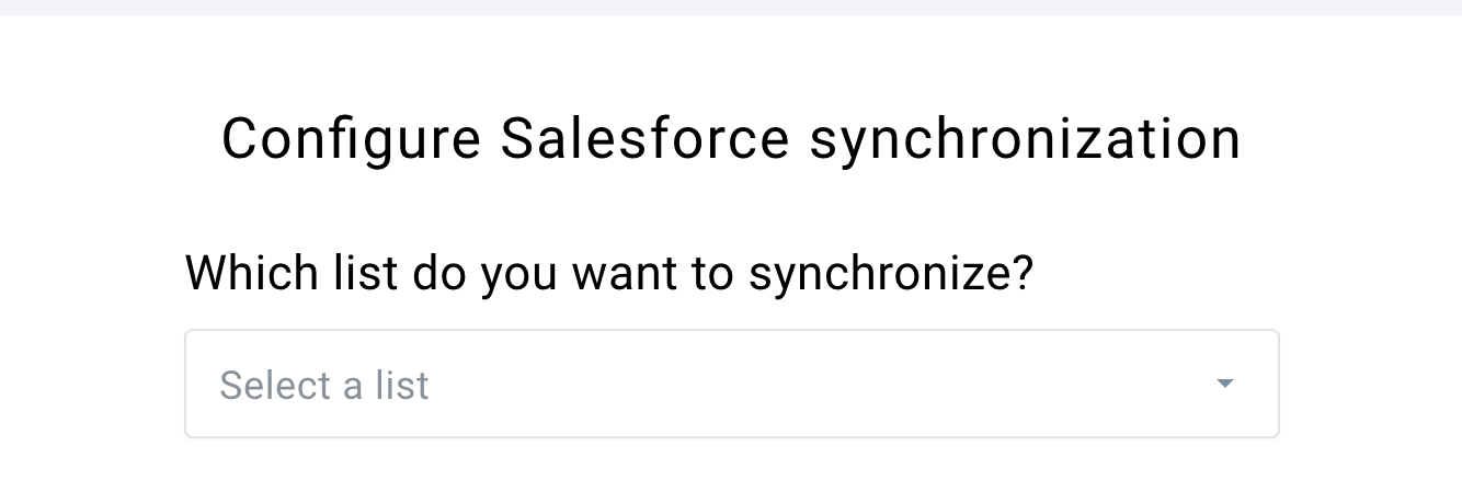 Selecting list to sync with Salesforce