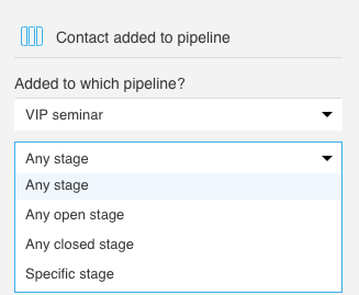 Expanded dropdown to choose stages from is shown
