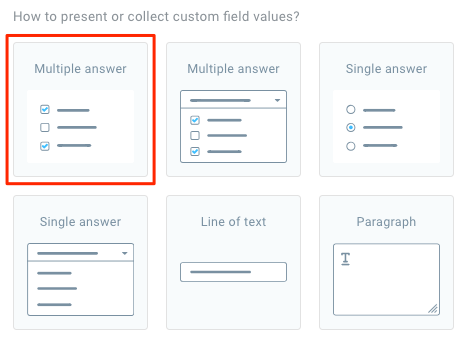 Showing which multiple answer option to use