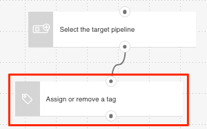 Tag action shown in template